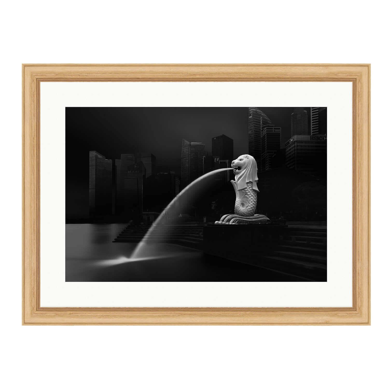 merlion bare wood frame mockup